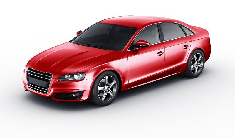 new red sporty sedan