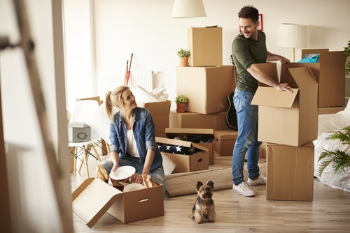 couple packing to move out
