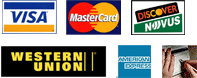We accept major credit cards, Western Union and Check by Phone.